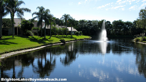 Some of the homes at Boynton Beach's Brighton Lakes community overlook a lake.